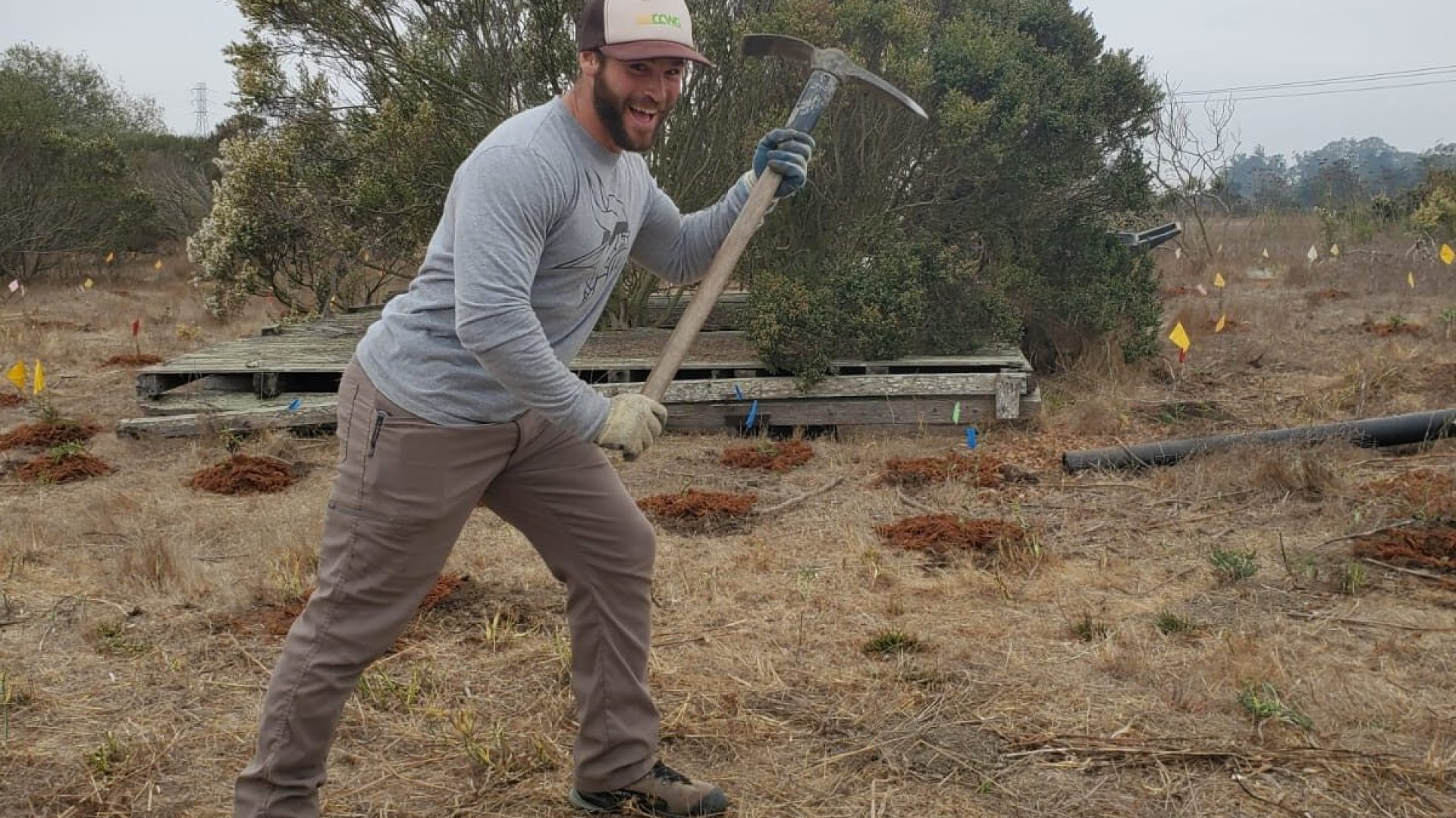 A CC&R crewmember breaks ground at a restoration site.